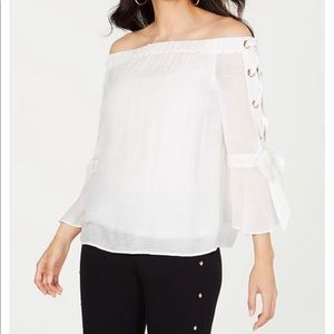 Off the Shoulder Lace-Up Top
